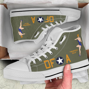 "B-17F ""Memphis Belle"" Inspired Women's High Top Canvas Shoes - I Love a Hangar"