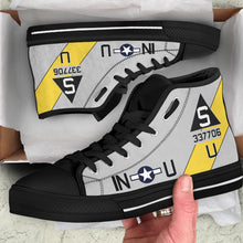 "Load image into Gallery viewer, B-17G ""Satan's Chillen"" Inspired Women's High Top Canvas Shoes - I Love a Hangar"