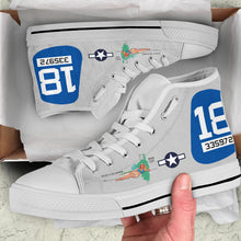 "Load image into Gallery viewer, B-25J ""Maid In The Shade"" Inspired Women's High Top Canvas Shoes - I Love a Hangar"