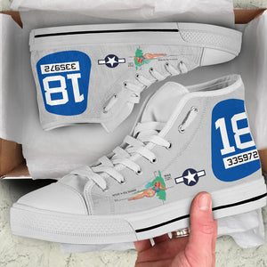 "B-25J ""Maid In The Shade"" Inspired Women's High Top Canvas Shoes - I Love a Hangar"