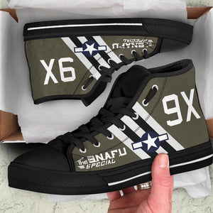 "C-47 ""The SNAFU Special"" Inspired Men's High Top Canvas Shoes - I Love a Hangar"