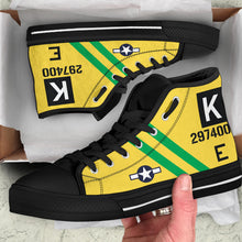 "Load image into Gallery viewer, B-17G ""Fuddy Duddy"" Inspired Men's High Top Canvas Shoes - I Love a Hangar"