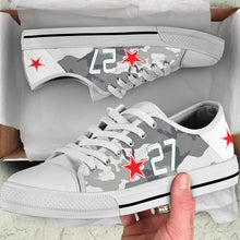 "Load image into Gallery viewer, Lavochkin La-7 ""White 27"" Inspired Women's Low Top Canvas Shoes - I Love a Hangar"