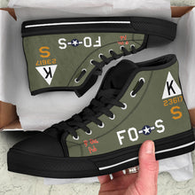 "Load image into Gallery viewer, B-17F ""Ye Olde Pub"" Inspired Women's High Top Canvas Shoes - I Love a Hangar"
