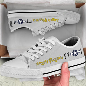 "P-51D ""Angels' Playmate"" of Lt. Bruce Carr Inspired Men's Low Top Canvas Shoes - I Love a Hangar"