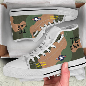 "Douglas A-1 Skyraider ""The Proud American"" Men's High Top Canvas Shoes - I Love a Hangar"