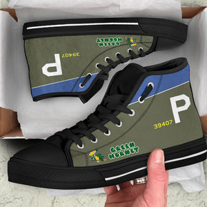 "A-20 ""Green Hornet"" Inspired Women's High Top Canvas Shoes - I Love a Hangar"