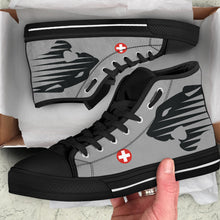 "Load image into Gallery viewer, Fliegerstaffel 18 ""Panthers"" Inspired Women's High Top Canvas Shoes - I Love a Hangar"