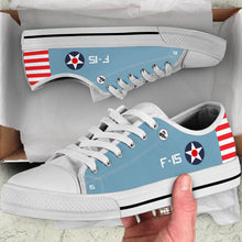 "Load image into Gallery viewer, F4F Wildcat of ""Butch"" O'Hare Inspired Men's Low Top Canvas Shoes - I Love a Hangar"