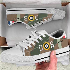 Spitfire Mk.VA of Douglas Bader Inspired Women's Low Top Canvas Shoes - I Love a Hangar