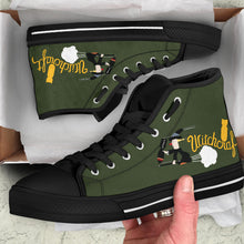 "Load image into Gallery viewer, B-24 ""Witchcraft"" Inspired Women's High Top Canvas Shoes - I Love a Hangar"