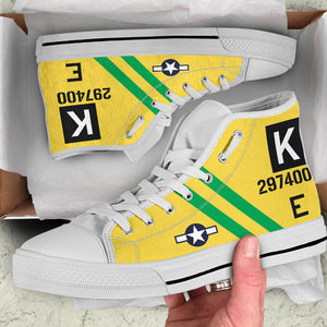 "B-17G ""Fuddy Duddy"" Inspired Women's High Top Canvas Shoes - I Love a Hangar"