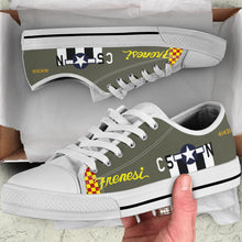 "Load image into Gallery viewer, P-51 ""Frenesi"" Inspired Men's Low Top Canvas Shoes - I Love a Hangar"