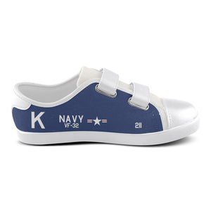 F4U-7 Corsair of Jesse Brown Inspired Kid's Velcro Canvas Shoes - I Love a Hangar