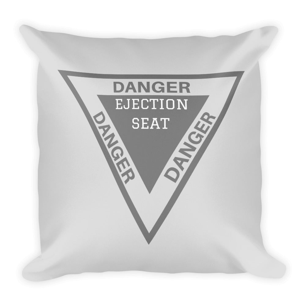 Danger Ejection Seat Throw Pillow - Single Side Print - I Love a Hangar