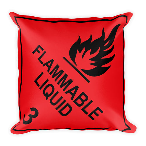 Flammable Liquid Sign Throw Pillow - Double Sided Print - I Love a Hangar