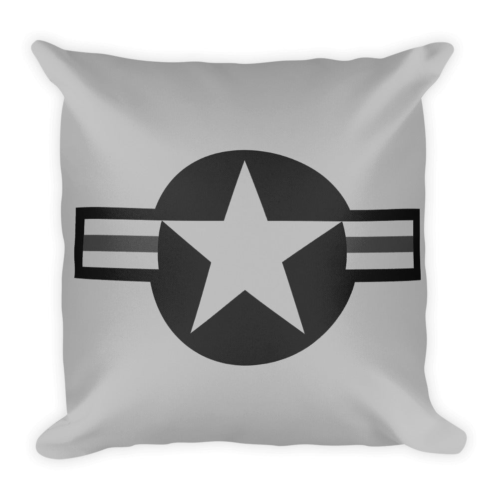 USAF Roundel Greyscale Pillow - Single Side Print - I Love a Hangar