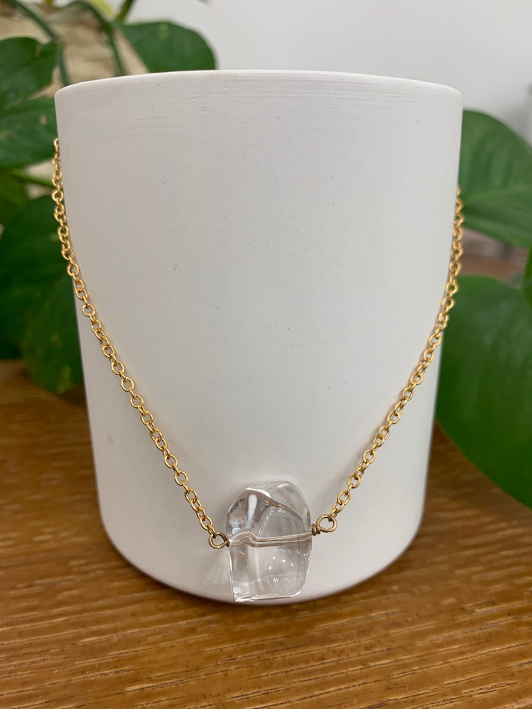 Amberlite Quartz Collarbone Necklace