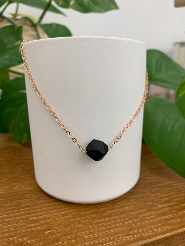 Amberlite Onyx Collarbone Necklace