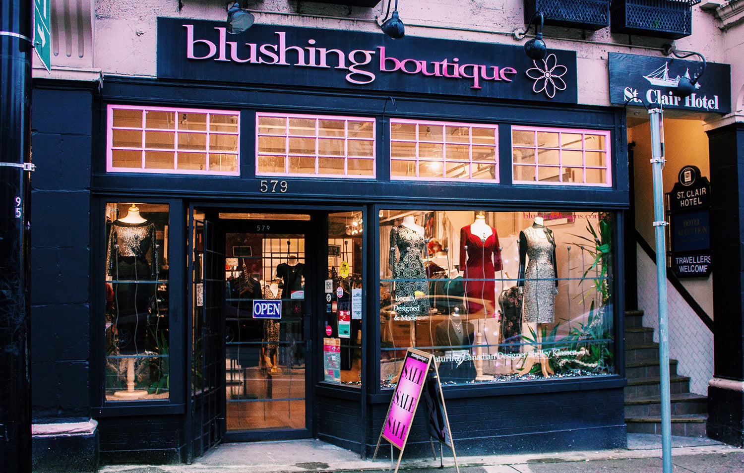 blushing boutique storefront downtown vancouver