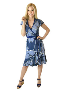 Large Blue Floral Ruffle Wrap Dress