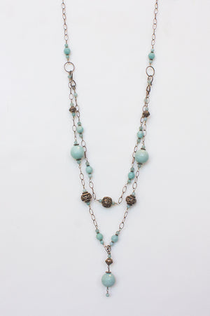 Amazonite Double Chain AdjustableNecklace