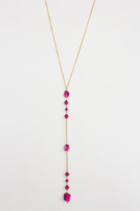 Fuschia Swarovski Crystal Drop Necklace