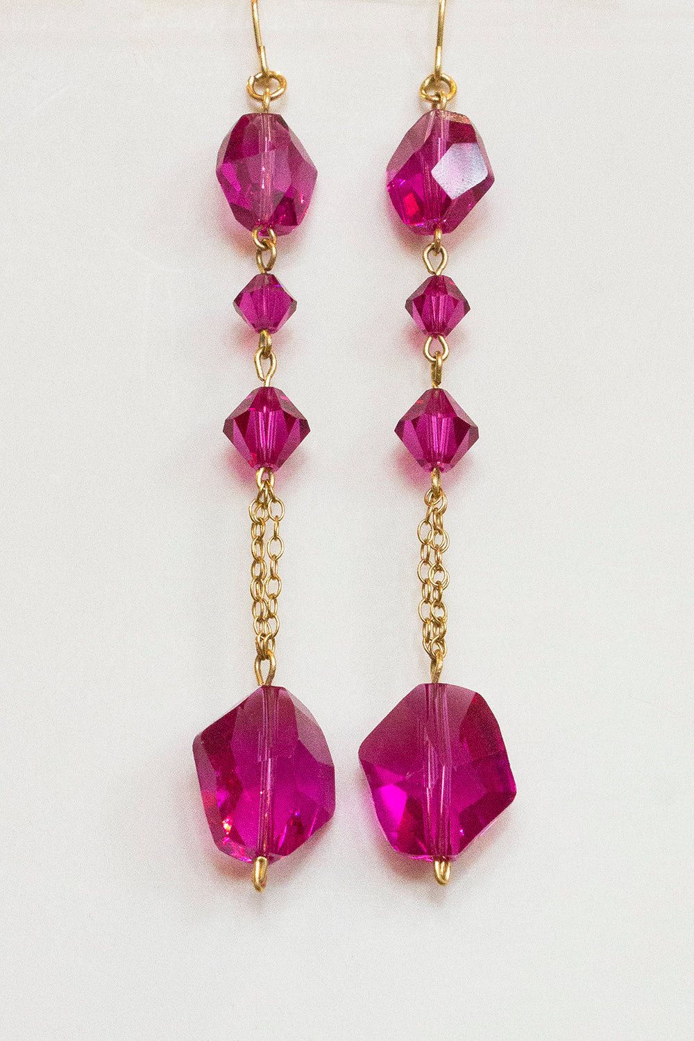 Fuschia Swarovski Crystal Drop Earrings