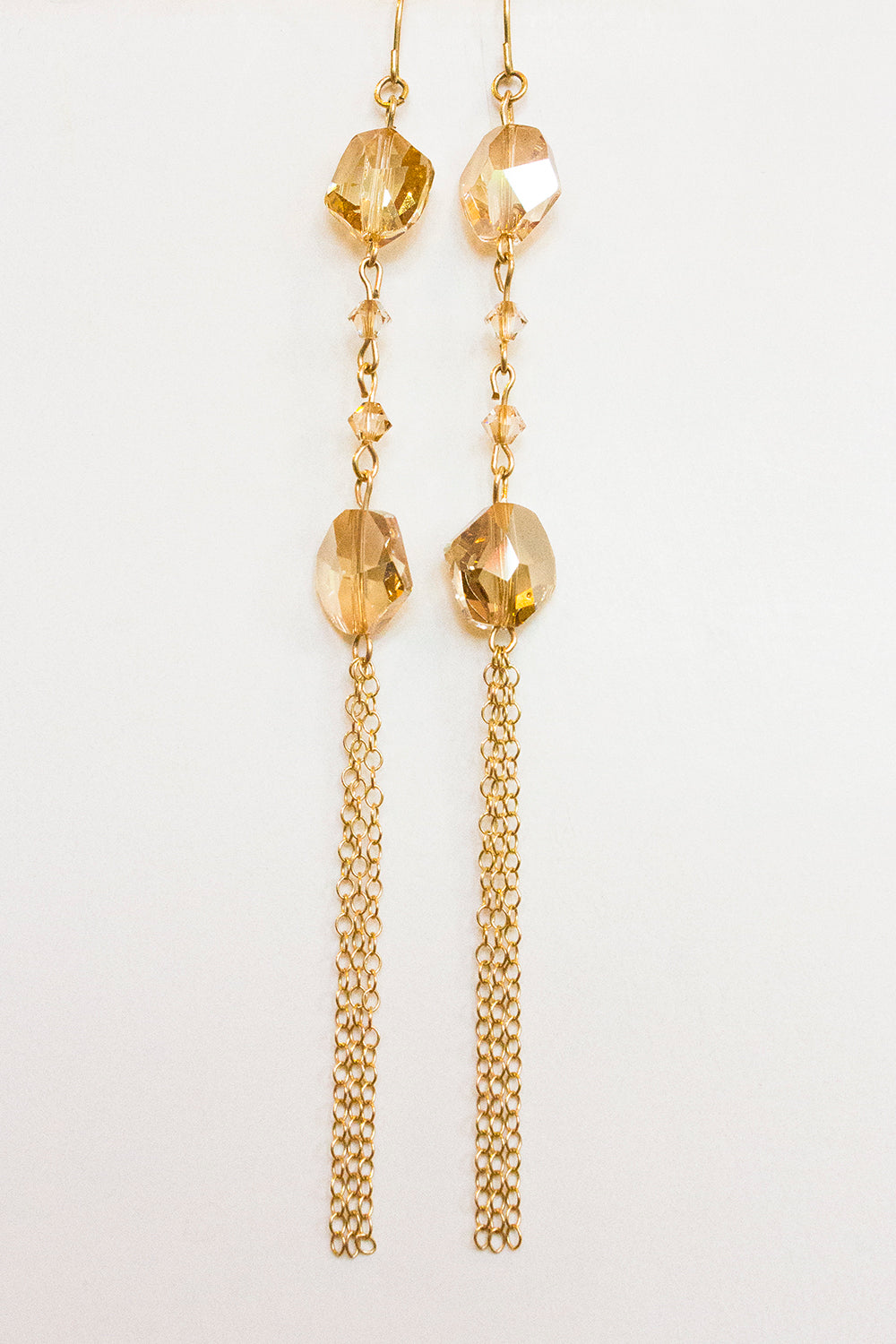 Golden Shadow Crystal Earrings