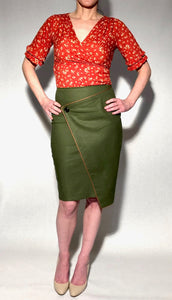 Stretch Linen Pencil Skirt Olive