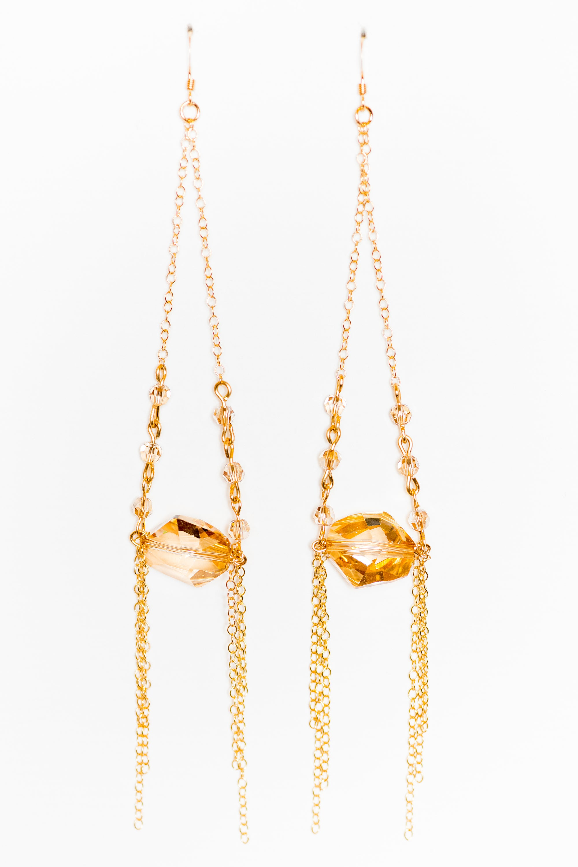 Gold Shadow Chandelier Earrings
