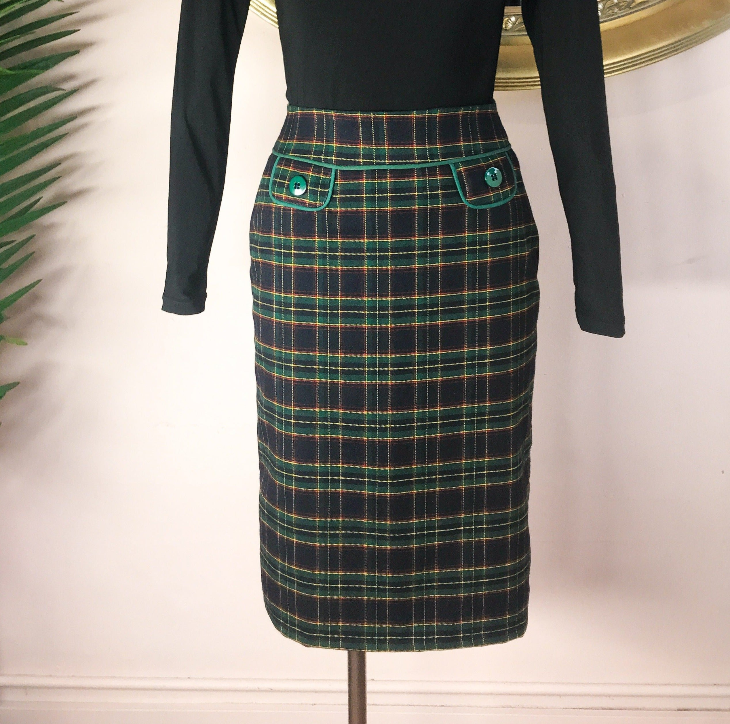 Green Button Pocket Skirt
