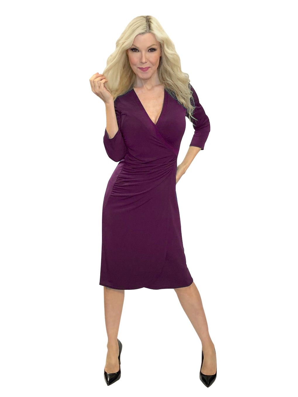 Ruched Wrap Plum Dress
