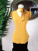 Mustard Tie Neck Top