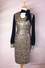 Sequin Tie Neck Dress