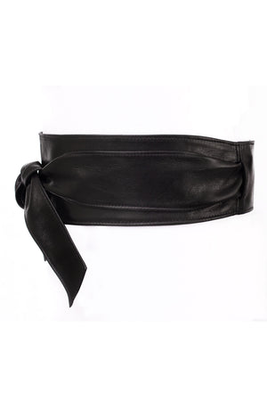 Bronsino Leather Obi Belt - Wide Black