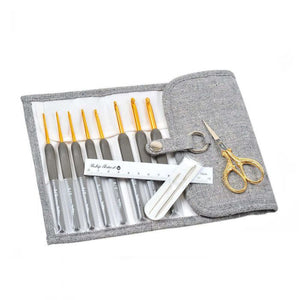 Tulip Etimo Crochet Hook Set (Premium Gold/Royal Silver scissors)
