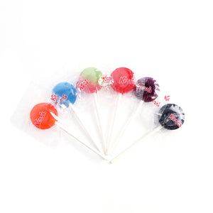 Kerr's Assorted Lollypops: orange, blue raspberry, watermelon, cherry, grape, licorice. Peanut free, treenut, free, gluten free