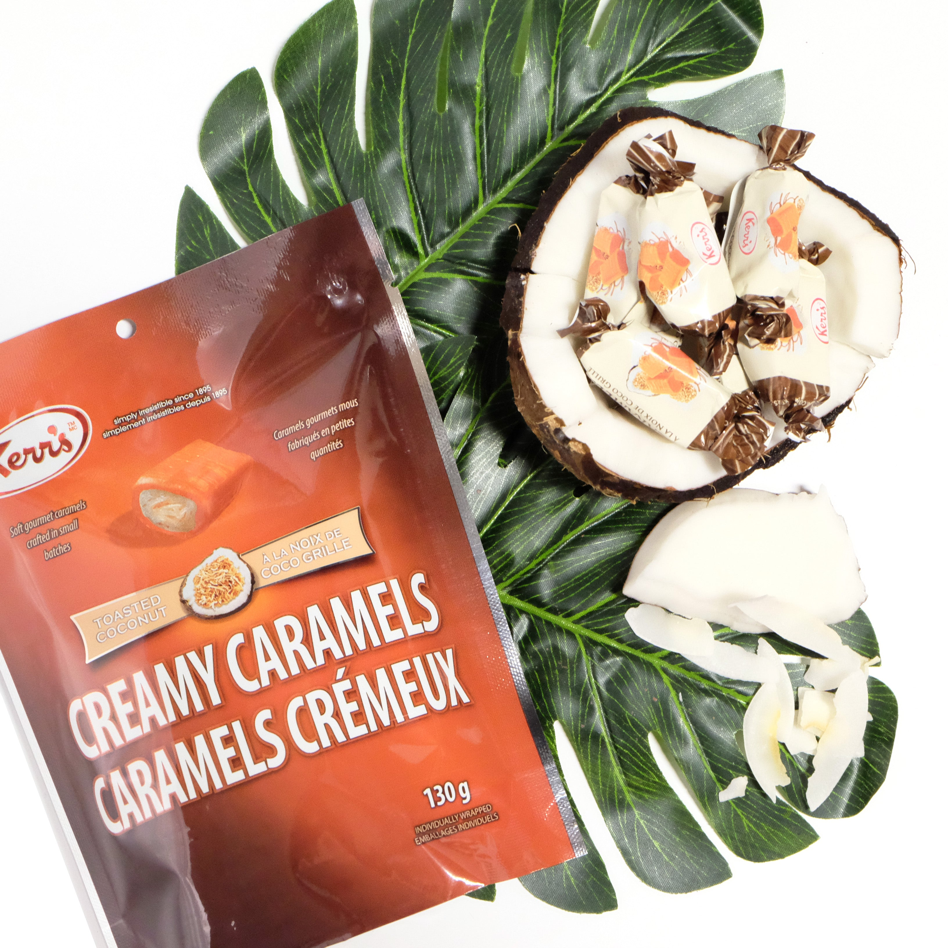 Creamy caramels toasted coconut