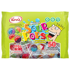 Kerr's Sour double fruit pops lollypops