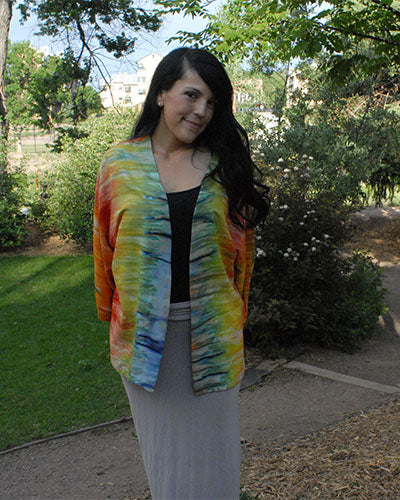 Boho kimono in green, blue, gold and orange batik tie dye