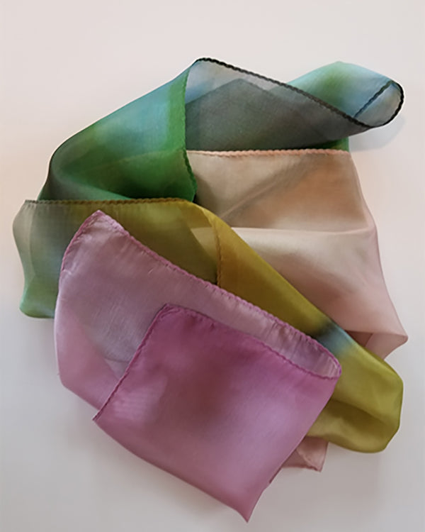 Limited Edition silk scarf in soft colors of the rainbow -- photography by Abigail Kreuser printed on silk