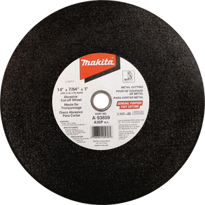 "Makita A-93859-5 14"" x 7/64"" x 1"" Abrasive Cut‑Off Wheel, (5 Piece) (New)"
