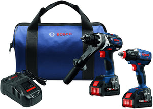 Bosch GXL18V-225B24 18-Volt 2-Tool Hammer Drill and Impact Driver Combo Kit (New)