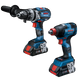 Bosch GXL18V-224B25 18V 2-Tool Combo Kit with Connected Freak 1/4 In. and 1/2 In. Two-In-One Bit/Socket Impact Driver and Brute Tough 1/2 In. Hammer Drill/Driver, (New)
