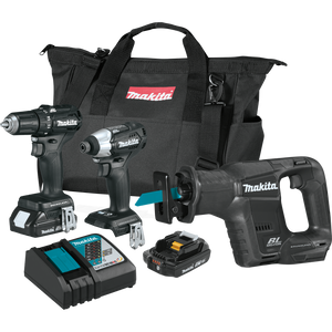 Makita CX300RB  18V LXT® Lithium‑Ion Sub‑Compact Brushless Cordless 3‑Pc. Combo Kit 2.0Ah, (Reconditioned)