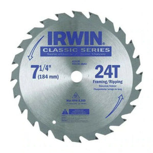 "Irwin Industrial Tools 25130 7-1/4"" x 24 Tooth Classic Series Circular Saw Blade, 3 Pc. (New)"