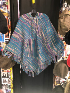 Blue & Purple Fleece Poncho