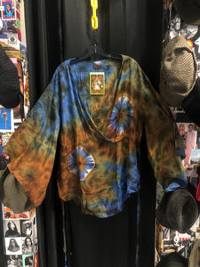 Blue Tie Dye Bell Sleeve Top