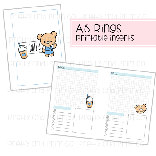 A6 Rings - Henry's Coffee Shop Daily Printable Inserts